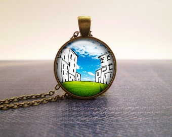 Grass town glass pendant, hand-drawn design
