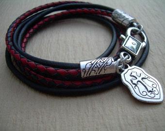 Cross Bracelet, Leather  Bracelet, Wrap Bracelet, Mens Bracelet, Mens Jewelry, Mens Gift, Womens Bracelet, Womens Jewelry, Fathers Day