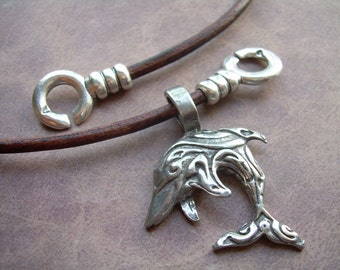 Dolphin Necklace, Leather Necklace, Dolphin Pendant , Mens Necklace, Mens Jewelry, Womens Necklace, Womens Jewelry, gift for, him, her