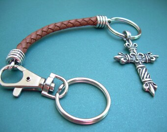 Keychain,Cross Keychain,Leather KeychainBraided Leather Cross Keychain, Valet, Key Chain, Cross