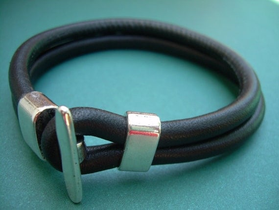 Mens Stitched Nappa Leather Bracelet with Toggle Clasp, Mens Bracelet, Mens Jewelry, Mens Leather Bracelet, Fathers Day
