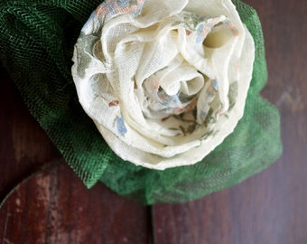 Delicately Printed Rosette Pin~Corsage