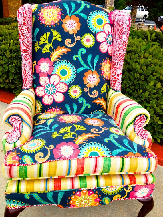 Items similar to flower print wingback chair on etsy for Multi coloured fabric dining chairs