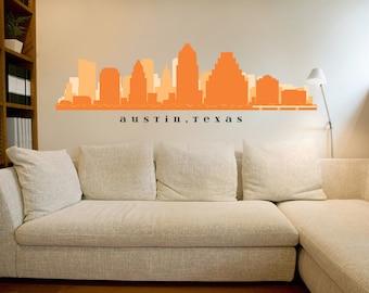 "Austin TEXAS Skyline Wall Decal Art Vinyl Matte Removable Sticker 30""x9"" Living Room City Decals Office Real Estate Business Decor"