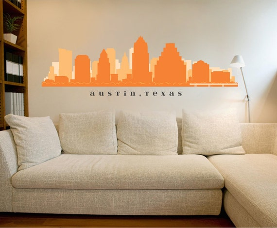 Items similar to austin texas skyline wall decal art vinyl for Real estate office wall decor