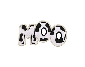 INSTANT DOWNLOAD Double Pack Farm Cow Says Moo Machine Embroidery Design Includes BOTH Applique and Filled Stitch