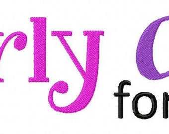 INSTANT DOWNLOAD Curly Girl Machine Embroidery Font Set Includes 3 Sizes