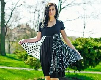 Upcycled bridesmaid dress, black and white, polka dot, short tattered repurposed recycled, boho, hippie, alternative fashion