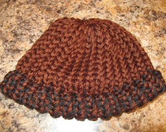 Knit Baby Hat / Baby Boy Hat / Brown and Black Knit Baby Hat / Ready to Ship