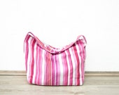 Pink Striped Handbag, Oversized Shopper Bag, Weekend Haldall, Everyday Purse, Shoulder Bag ohtteam Fuschia Magenta Cerise Rose