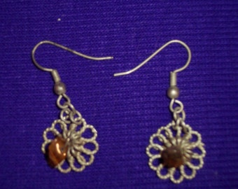 Earrings: Vintage Silver India Fashion with Tiger Eye Chips