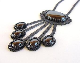 Hematite Lavalier Style Metallic Beadwoven Statement Necklace