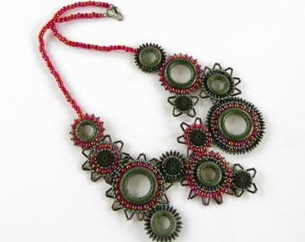 Asymmetrical Olive and Ruby Bib-Style Efflorescence Necklace with Korean Boxwood Rings