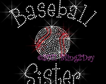 Baseball Sister - C - Iron on Rhinestone Transfer Bling Hot Fix Sports - DIY