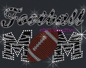 Zebra Football Mom - Iron on Football Rhinestone Transfer Bling Hot Fix Sports School - DIY Football Shirts