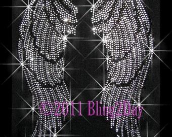 Large Angel Wings - Iron on Angel Wings Rhinestone Transfer Bling Hot Fix Applique - DIY Angel Wings Shirts