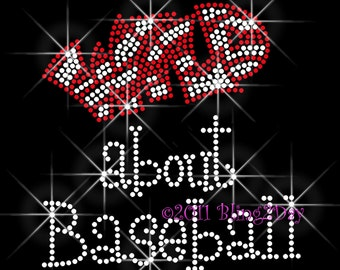 Wild about Baseball - Iron on Baseball Rhinestone Transfer Bling Hot Fix Bling - Sports School Mom - DIY Baseball Shirts