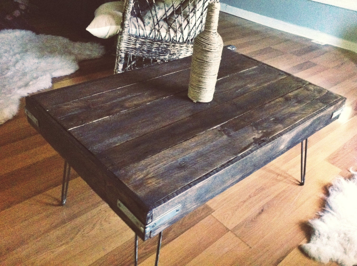 Industrial stained reclaimed wood coffee table for Reclaimed coffee table