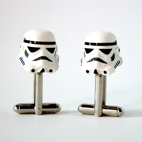 Father's Day - Groomsmen Gift - Star Wars Stormtrooper Silver Cufflinks - Made with LEGO bricks - Mens Cufflinks - Gift for HIm - Best Man