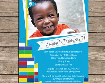 Set of 25 Building Blocks Castle Birthday Party Invitations
