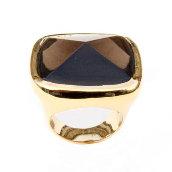 Ring with Smoky Quartz, Size 7.75