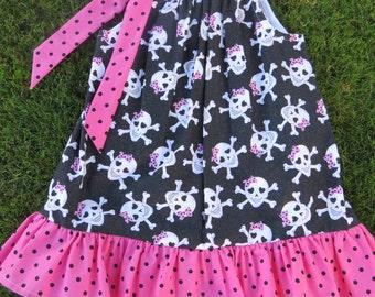 Girls Black and Pink Skulls and Polka Dot Ruffled Pillowcase 3T/4T Dress or a 6/7 Tunic Top