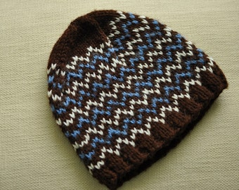 Adult Knit Wool Hat, Adult Knit Beanie, Brown knit hat, brown blue and cream knit hat