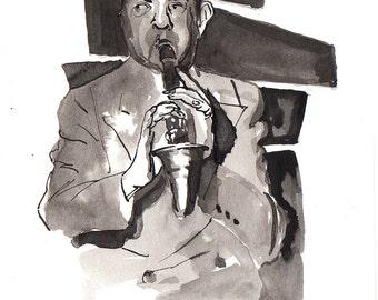 Print of New Orleans Jazz clarinetist, Alphonse Picou