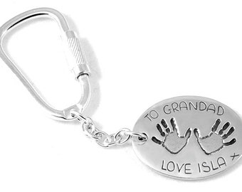 Hand and footprint keyring