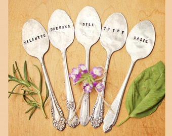 FIVE Vintage Spoon Garden Herb Markers - Antique Silver Plated - Hand Stamped - Rustic - Custom