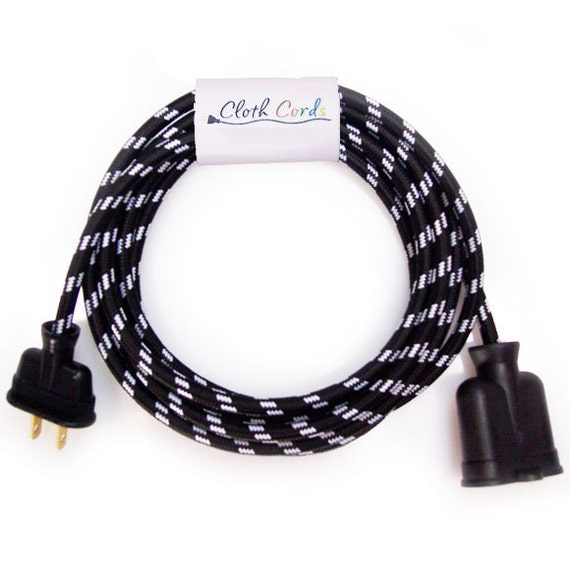 Black & White Check Cloth-Covered Extension Cord - 10 ft - Vintage Style - Electrical Cord - Vintage Wire - Your Source for Pendants Lights