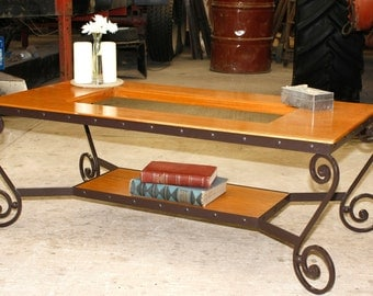 Wrought Iron cofe table, hand  forged, with fine woods, ad glass can be made any size