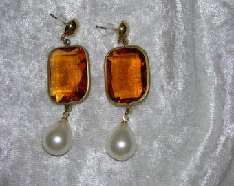 MADE TO ORDER: Renaissance, Medieval, Historical, Wedding, Rococo, Emerald Cut, Pearl Drop Post Earrings