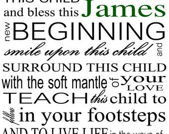 IRISH BABY BLESSING - High quality 8x10 print on bright white 80 pound uncoated cover