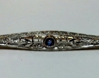 Vintage 14kt Two-Tone Sapphire Pin
