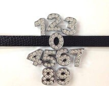 Set of 10 pc  rhinestone number charm 0-9 fits 8mm wristband for jewelry /crafting