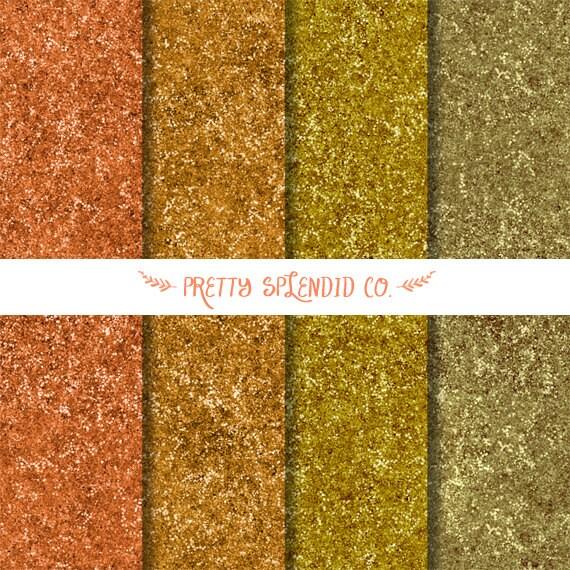 Gold Glitter  - Digital Scrapbook - Paper Pack - Instant Download