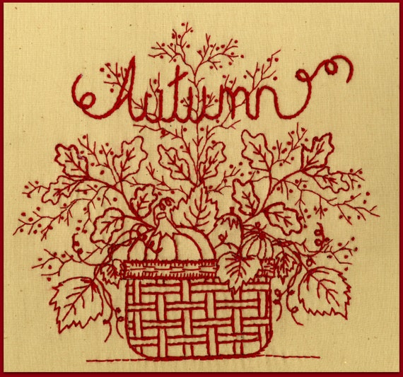 Redwork autumn redwork hand embroidery pattern by for Wellington house designs