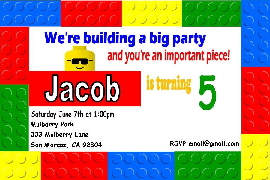 Lego Birthday Party Invitations Popular items for lego theme party on ...