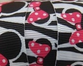 3 yards for printed Minnie Mouse zebra grosgrain ribbon 7/8