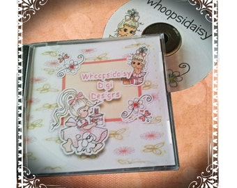 Crafting CD containing more than 100 digi stamps Black and white..ready colored,backing papers toppers and embellishments