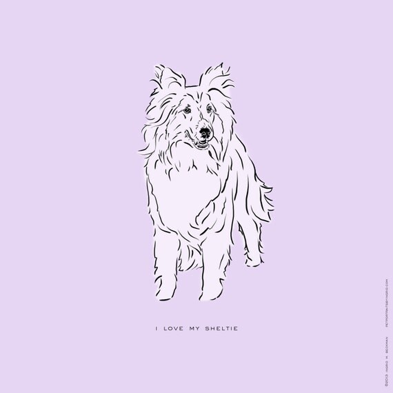 Line Art Etsy : Items similar to sheltie shetland sheepdog dog breed