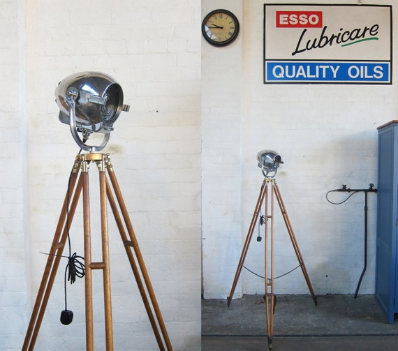 Original Antique Vintage Industrial Polished Strand Theatre Lamp Light On Tripod