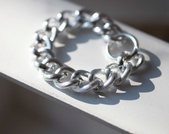 SILVER Textured Chain Bracelet -Chunky Large Chain Link Bracelet - Chain bracelet