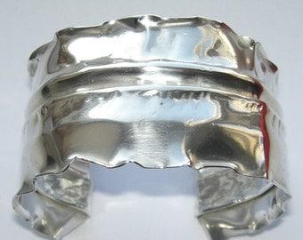 Sterling Silver Fold Formed Cuff Bracelet.