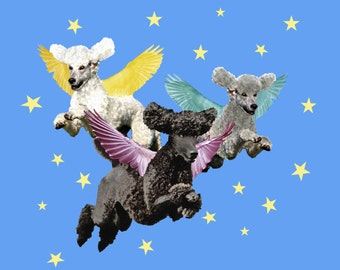 Poodles Flying on a 100% cotton Tee shirt.