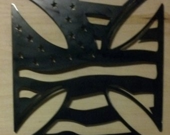 iron cross with american flag
