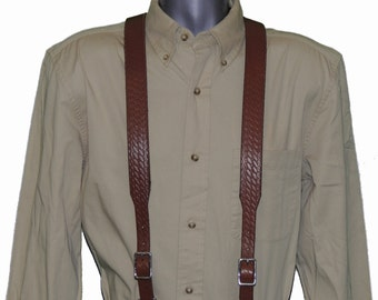 Basket Weave Leather Suspenders in multiple colors