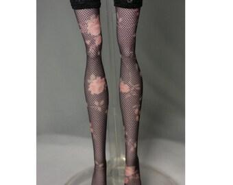 Dolls stockings for Monster high doll  Dark brown flower  No.516