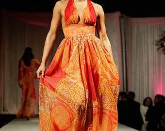 Printed Chiffon Halter top Dress
